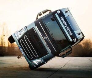 Volvo stunning stunt on two wheels