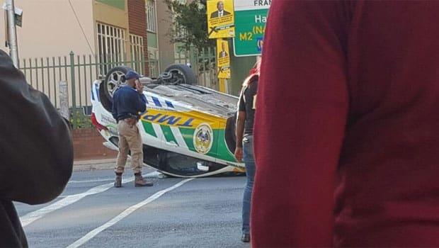 Protesting ANC members overturn metro cop car in Pretoria