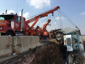 Two injured after their truck capsize