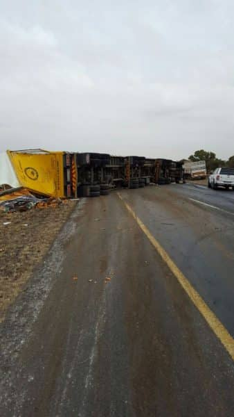 Truck crashes injuring driver