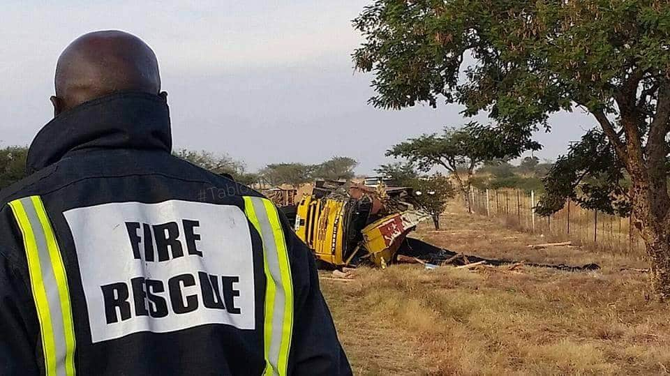 Two trucks collide killing one driver and seriously injuring the other