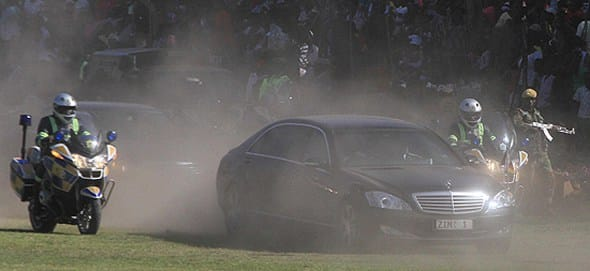 President Mugabe motorcade attacked by disgruntled police officers