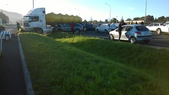 TRUCK CRASHES INTO FIVE CARS LEAVING 5 INJURED
