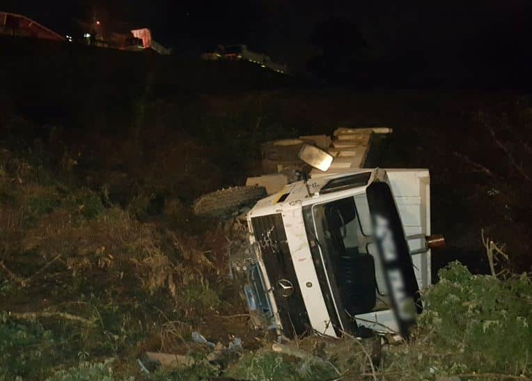 1 Entrapped and another injured in truck rollover in Pinetown