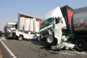ONE KILLED IN 4 TRUCK AND 10 CARS PILEUP ON N3