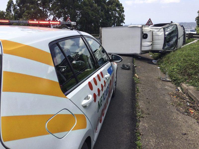 Truck overturns on Fields hill, one injured