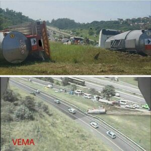 N3 to N2 north splits closed after tanker overturns