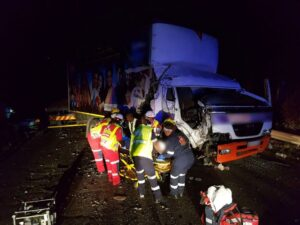 Two trucks and a car collide injuring two in KZN