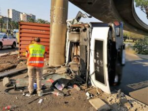 Driver Injured After Crashing Truck Onto Concrete Pillar In Durban