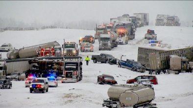 100 cars pile-up in Alberta, Canada