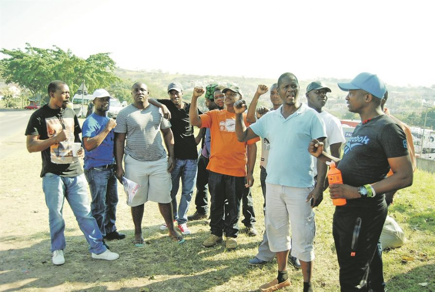 Part of the drivers who downed tools at GSF Trucking in Chatsworth, Durban