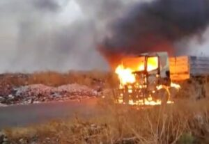 Watch: Truck drivers run for dear life as trucks are torched in NW