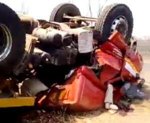 Watch: Driver entrapped in Victoria Falls truck accident