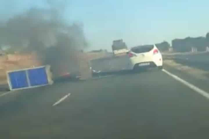 Watch: Protesters block off N3 highway with burning tyres at Vosloorus