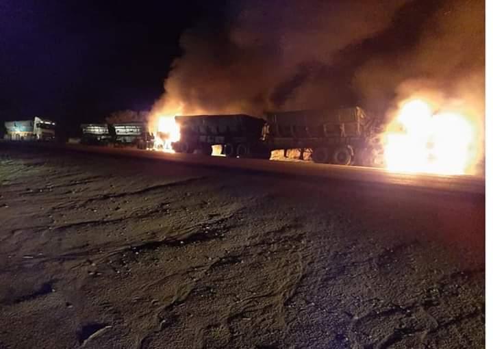 trucks burnt at arnot