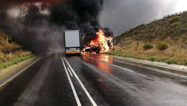 PICS | Truck driver burnt beyond recognition two truck head-on crash