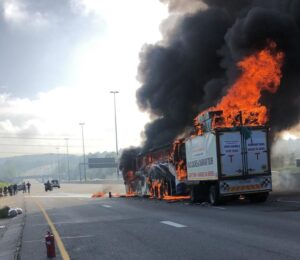 Bus with passengers catches fire on N1 north in Johannesburg