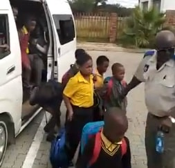 WATCH | Driver nabbed for loading 58 pupils into a 14-seater taxi