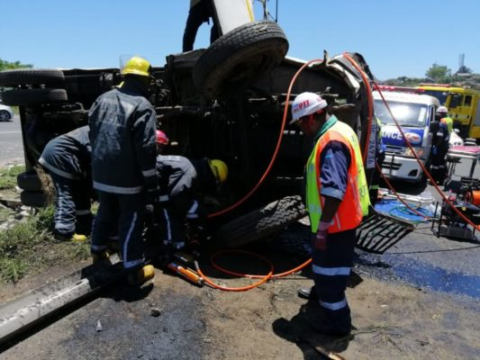 Pics: Truck driver severely entrapped following accident in Durban