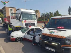 Watch: Motorist entrapped after serious truck and car accident