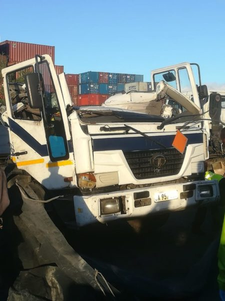 cape town port freak crane accident truck wreck