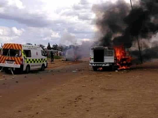 Watch: Lichtenburg community burn 2 police vans, ambulance after a child is knocked down