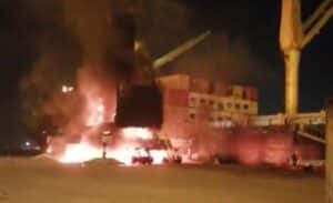 Watch: Fierce fire consumes mobile crane at Durban Multi-Purpose Terminal