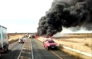 Watch: N1 closed near Kroonstad after serious truck accident, fire
