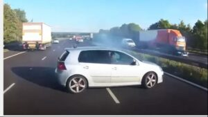 Watch: Golf 5 driver in close call with death as car spins on busy freeway