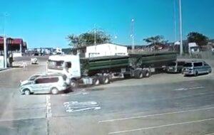 Watch: Truck rolls from parking crashing customs officials at KM4