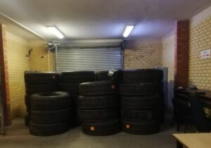 Police bust three men with 73 stolen truck tyres
