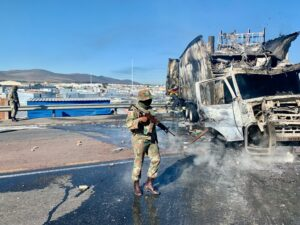 trucks torched dunoon protests