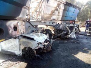 Pics: U-turn blamed for the fatal R545 truck vs 3 cars fiery crash