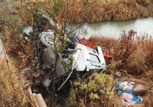 Four injured after truck falls over bridge in R34 accident