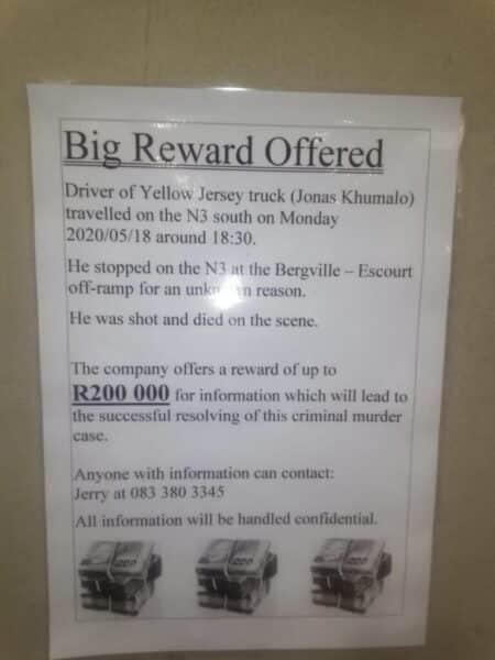 Reward for killers of Jonas Khumalo