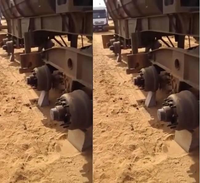 Watch: Thieves strip truck of 24 wheels