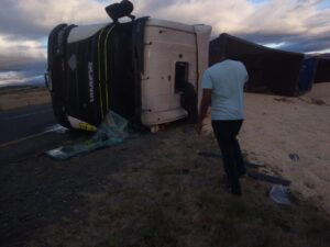 Watch: Driver escape serious injury as truck overturns on N10 in Middelburg