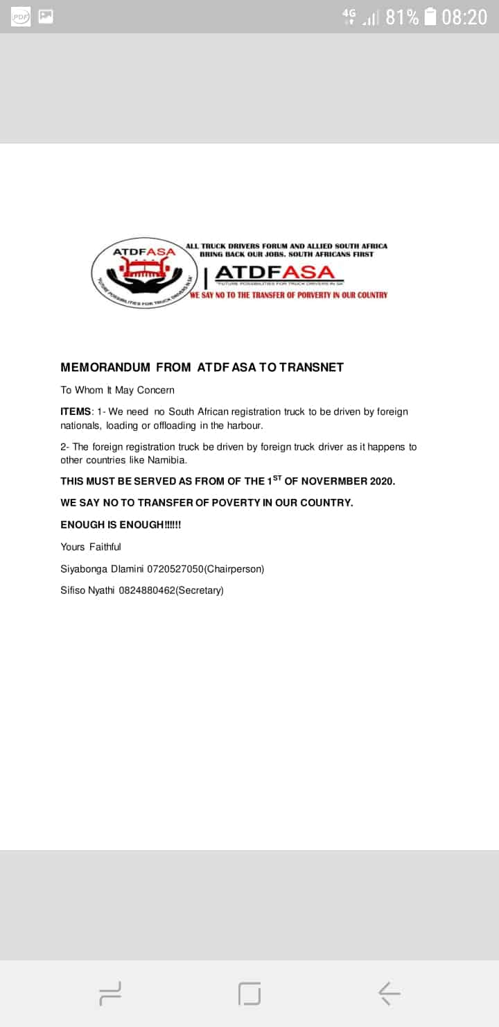 Atdf demands no entry for foreigners in Transnet terminals