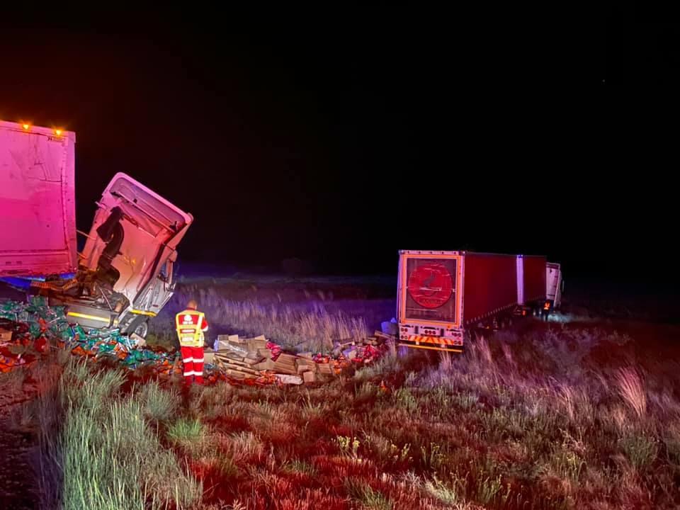 trucks in bush after crash
