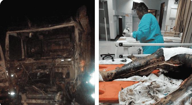 man burnt in his truck