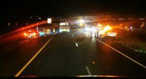scene of truck burning on n12