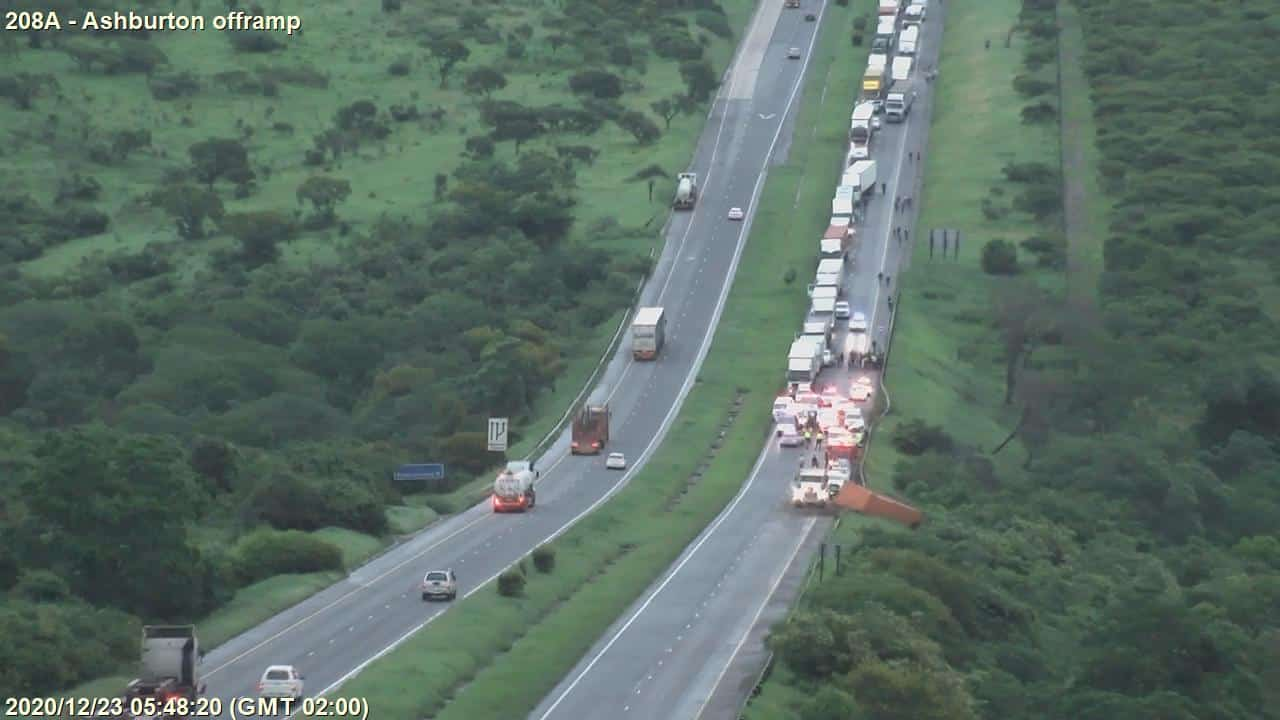 Watch: Container falls off truck onto taxi killing 2 on N3 at Ashburton