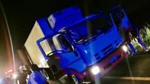 hijacked truck driving on wrong side of freeway