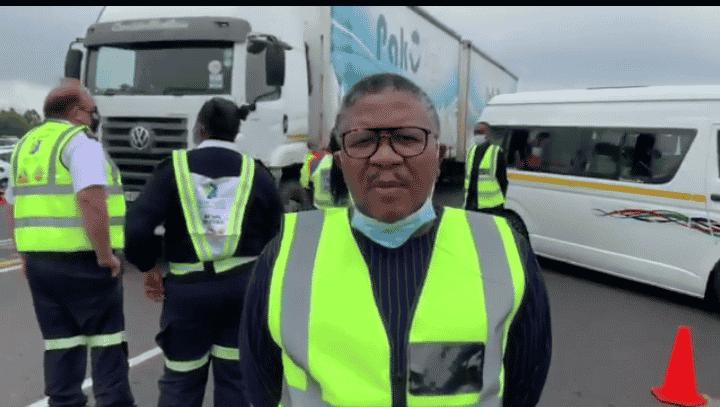 fikile mbalula at a roadblock