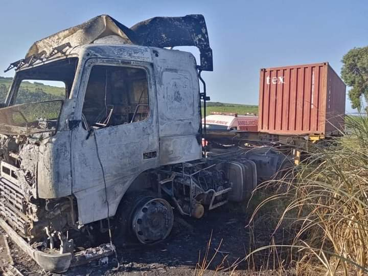 Pics: Truck mysteriously burns out in Inanda, Durban