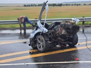 Look: BMW ripped apart after colliding with truck on N8, four dead