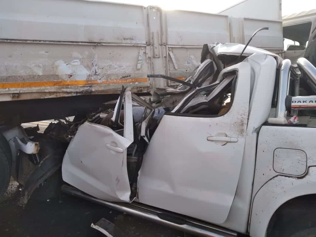 Truck and toyota hilux bakkie collision