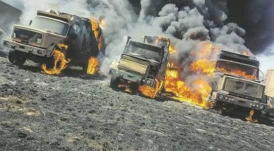 Military trucks equipment burnt out near Pretoria