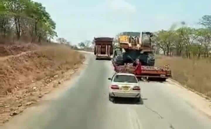 Abnormal load truck overtaking